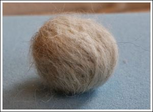 Swaledale light grey ball after 5 minutes