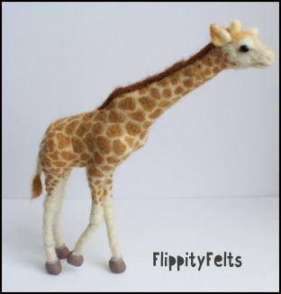 Needle felted giraffe