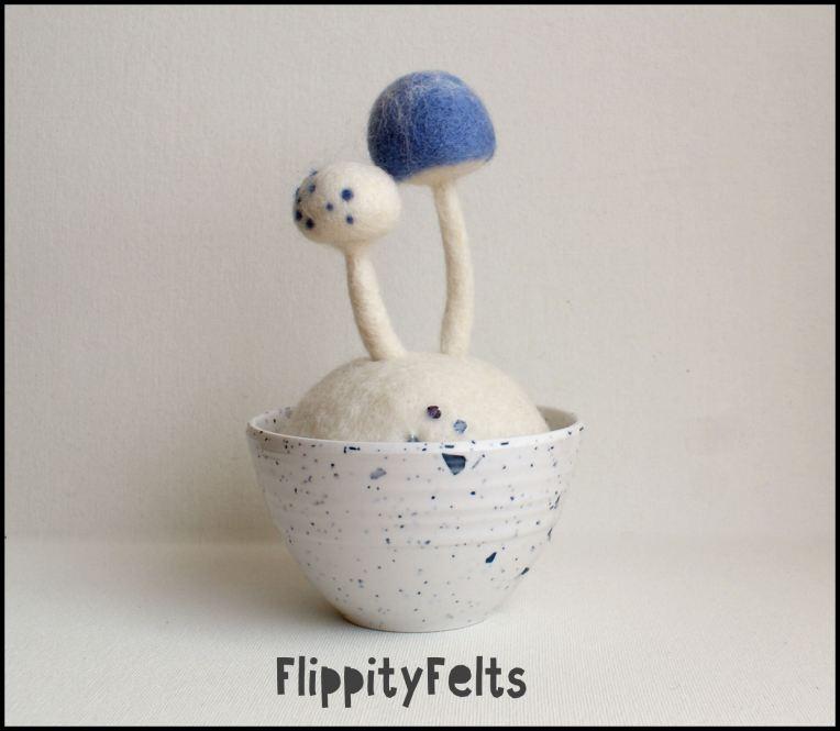 Ice and Snow mushroom pincushion
