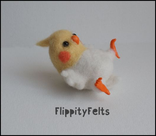Needle felted kawaii cockatiel