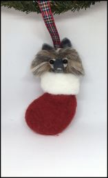 felted keeshond in stocking